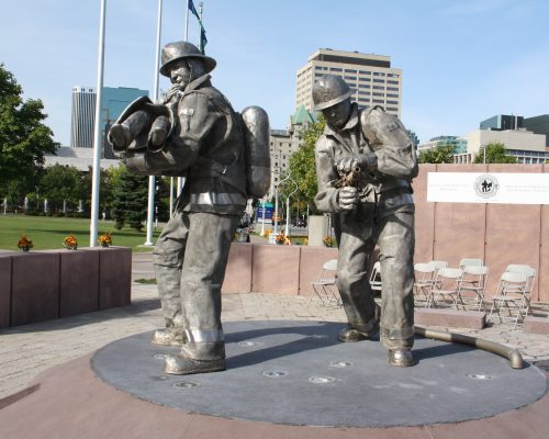 Firefighter Monument Statues pre-ceremony