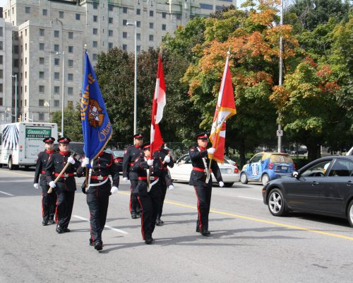 Memorial Band OFS Honour Guard Arrive at Monument Ceremony Site