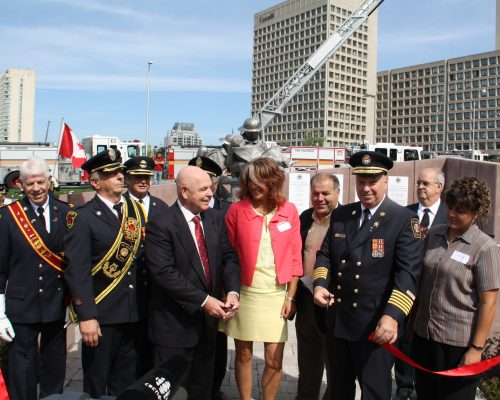 Ribbon Cut LR Brian Conway Paul Casagrande Dave Stephenson Mayor OBrien Louise Carioti Angelo Filoso Lanna OBrien David Smith Firefighters